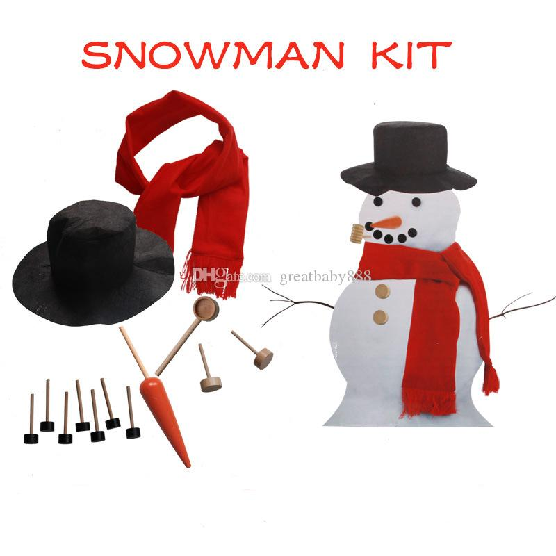 Wooden Simulation Dress Up Snowman Kit Christmas Decor Accessories Sets Snowman Eyes Nose Mouth Pipe Buttons Scarf Hat EMS with box C3105