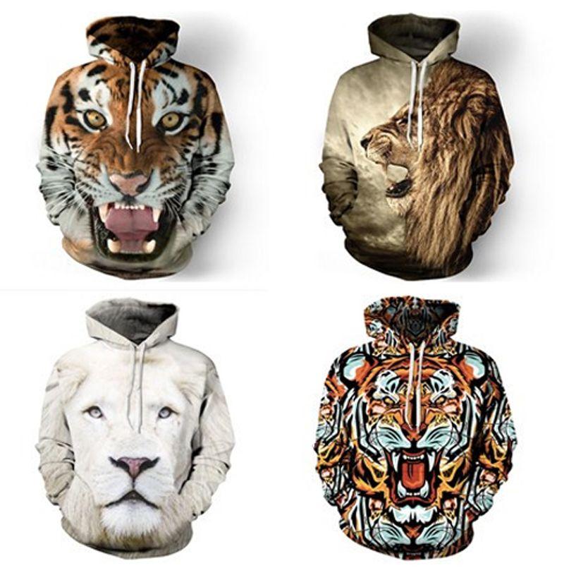 8beb8f05c046 Wholesale-Fashion Tiger lion Hooded Shirts Women men Printed 3d ...