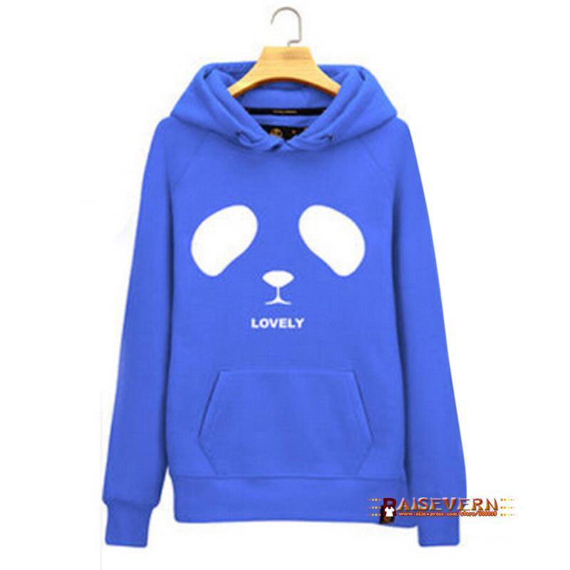 Raisevern nouveau coton 3D épais hoodies harajuku dessin animé tête de panda animal imprimer femmes costume de sport sweat automne / hiver vêtements FG1510