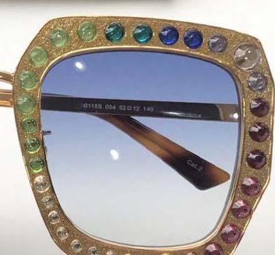 NEW Women Designer Sunglasses 0115 Square Frame Mosaic Shiny Crystal Colorful Diamond Top Quality UV400 Lens 0115s With Original Box