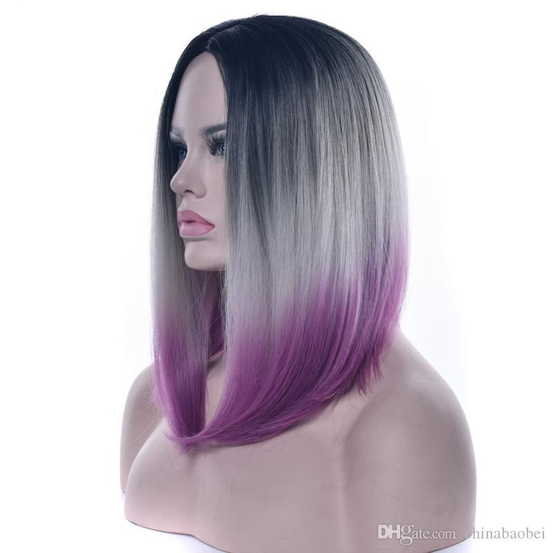 Droite Femmes Moyen Part Full Lace Perruques Moyenne Haute Température Fibre Trois Ton Ombre 14 Pouces Synthétique Cheveux Morceaux