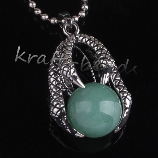 Commercio all'ingrosso stile cinese argento placcato naturale verde avventurina tondo tallone intarsio drago artiglio gioielli ciondolo pendente