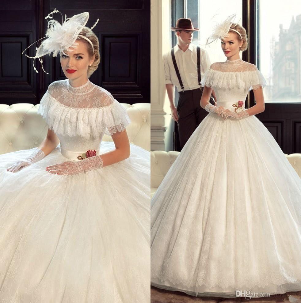 Vintage Victorian Wedding Dresses: Modest Victorian Wedding Dresses Lace Ball Gown Custom