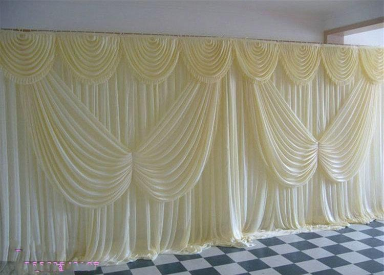 3m 6m milk white wedding backdrop curtain angle wings for Background curtain decoration