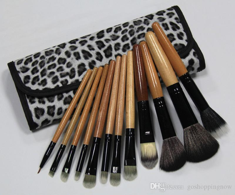 High Quality Real Tech New Professional Cosmetic Makeup Brush Set with Leopard Print Pouch