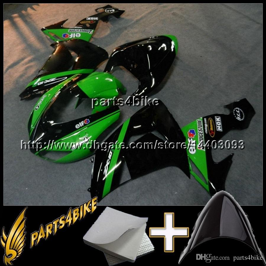 23colors+Gifts GREEN BLACK motorcycle bodywork cowl for Kawasaki ZX10R 06 07 ZX-10R 2006-2007 ABS Plastic Fairing