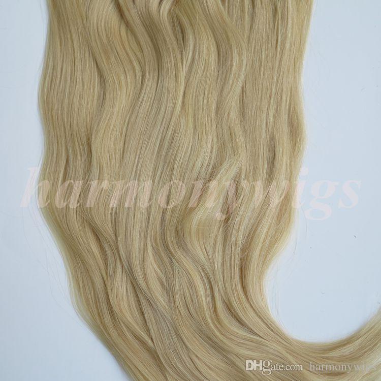 280g 20 22inch 100% Human Hair Clip in Hair Extensions Smooth Brazilian Hair 613#/Bleach Blonde Straight Hair free comb