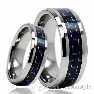 8mm venta caliente de joyería de carburo de tungsteno anillo azul y negro de fibra de carbono para hombres y mujeres TUR-002 8mm