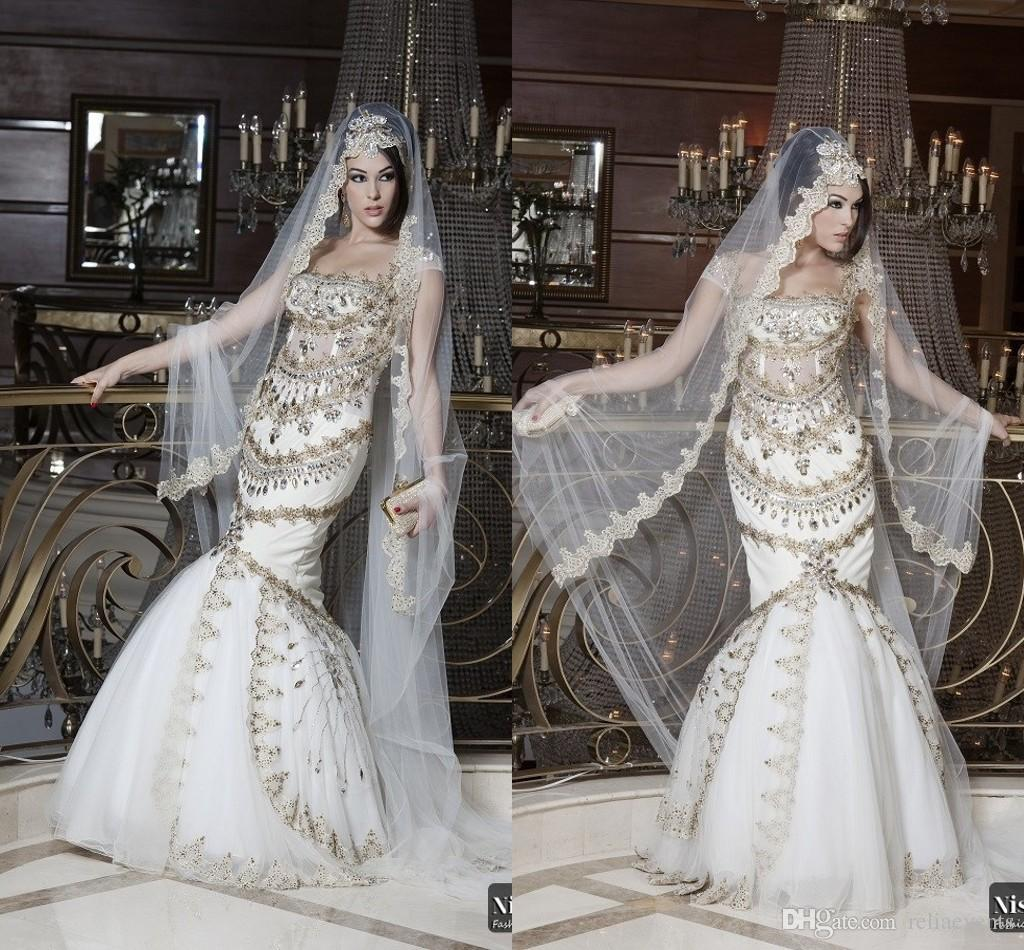 Luxury 2015 Arabic Dubai Mermaid Wedding Dresses Sparkly Beaded ...