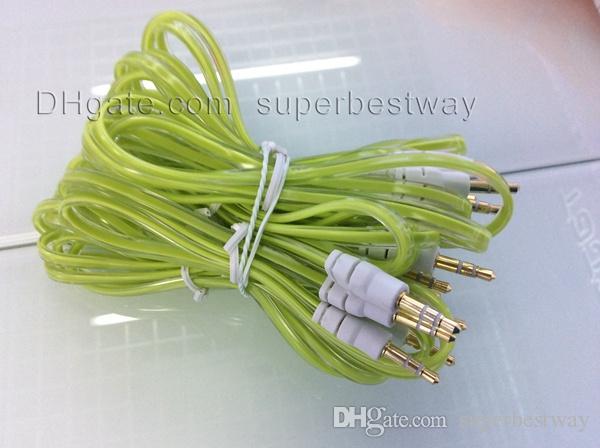 Düz erişte temizle ile ses Kabloları Konnektörler yarım şeffaf beyaz kafa erkek erkek AUX ses kablosu fit iphone 5g ipad 3 mini CAB037