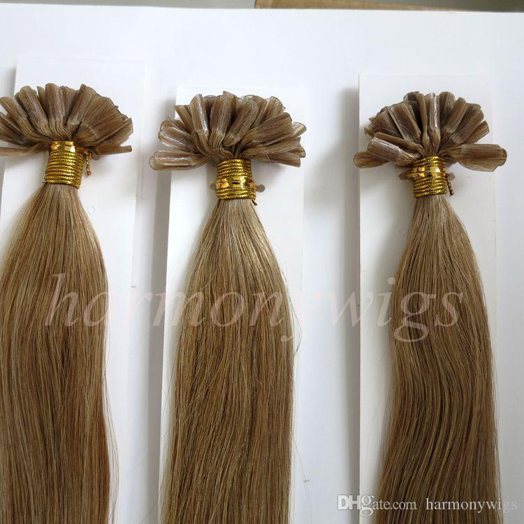 50g 50Strands Pre Bonded Nail U Tip Hair Extensions Brazilian Indian human hair 20 22inch #12/Light Golden Brown top quality