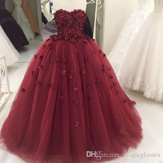 Immagini reali 2018 Borgogna Handmade Flower Vintage Ball Gown Prom Abiti da sera Lace-up Abiti formali Plus Size Quinceanera Dress