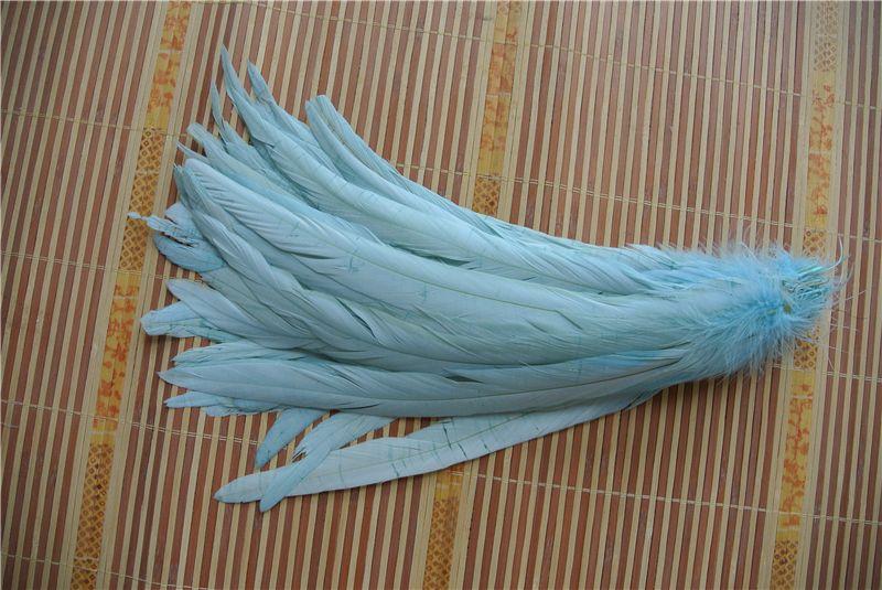 Envío gratis 100 unids 12-14 pulgadas 30-35 cm azul aguamarina gallo pluma coque pluma suelta para la decoración de trajes artesanía bodas