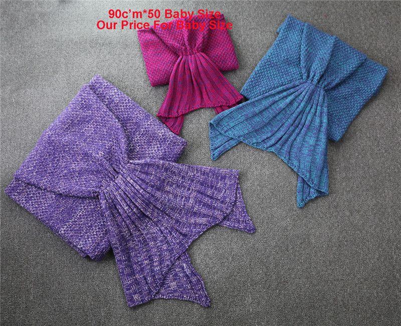 Handmade Knitted Mermaid tail Blanket 90*50CM Yarn Material Soft Knit Blanket Sleeping Bag Satisfies the children's fantasy Best gifts