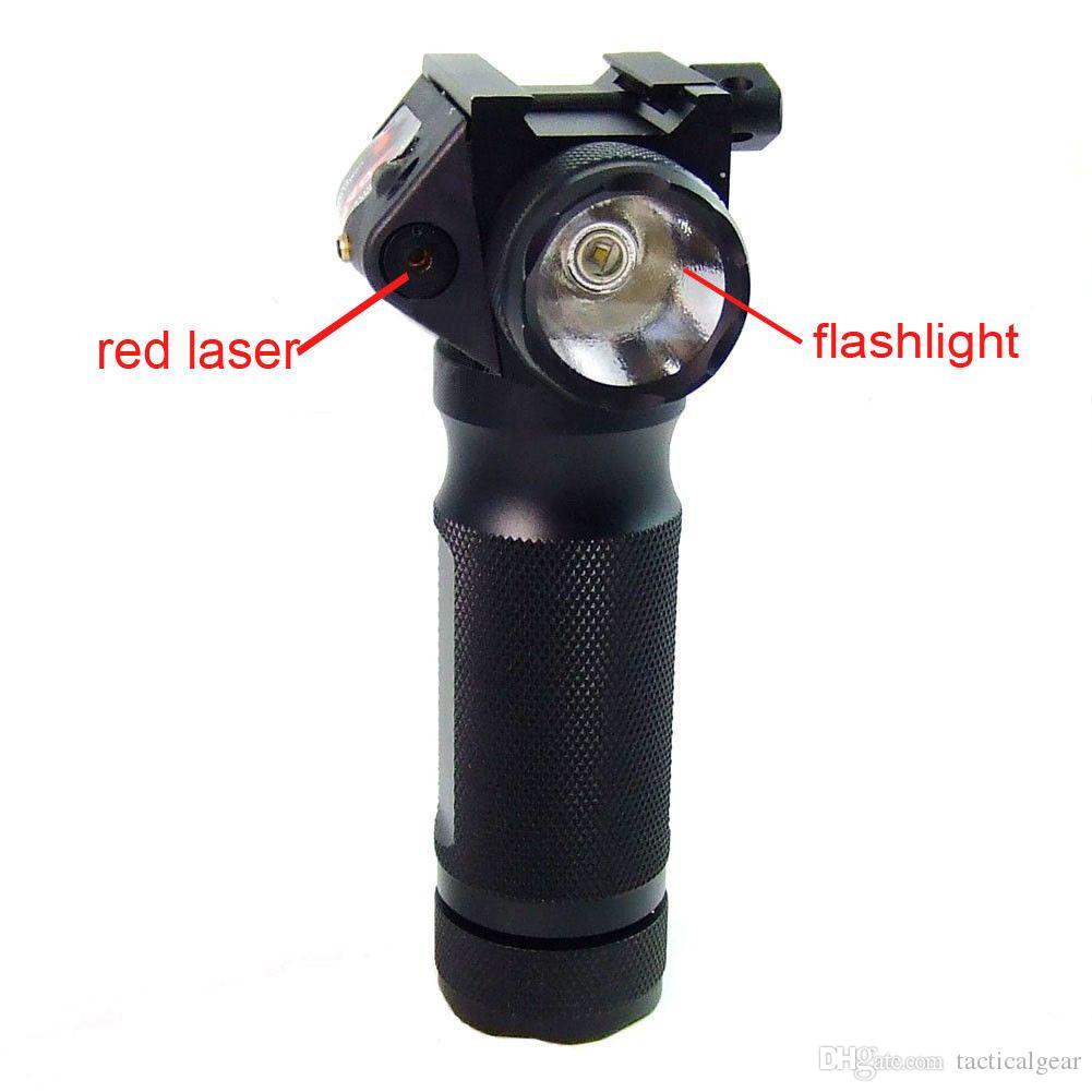 전술 수직 포 그립 크리 어 LED 사냥 용 손전등