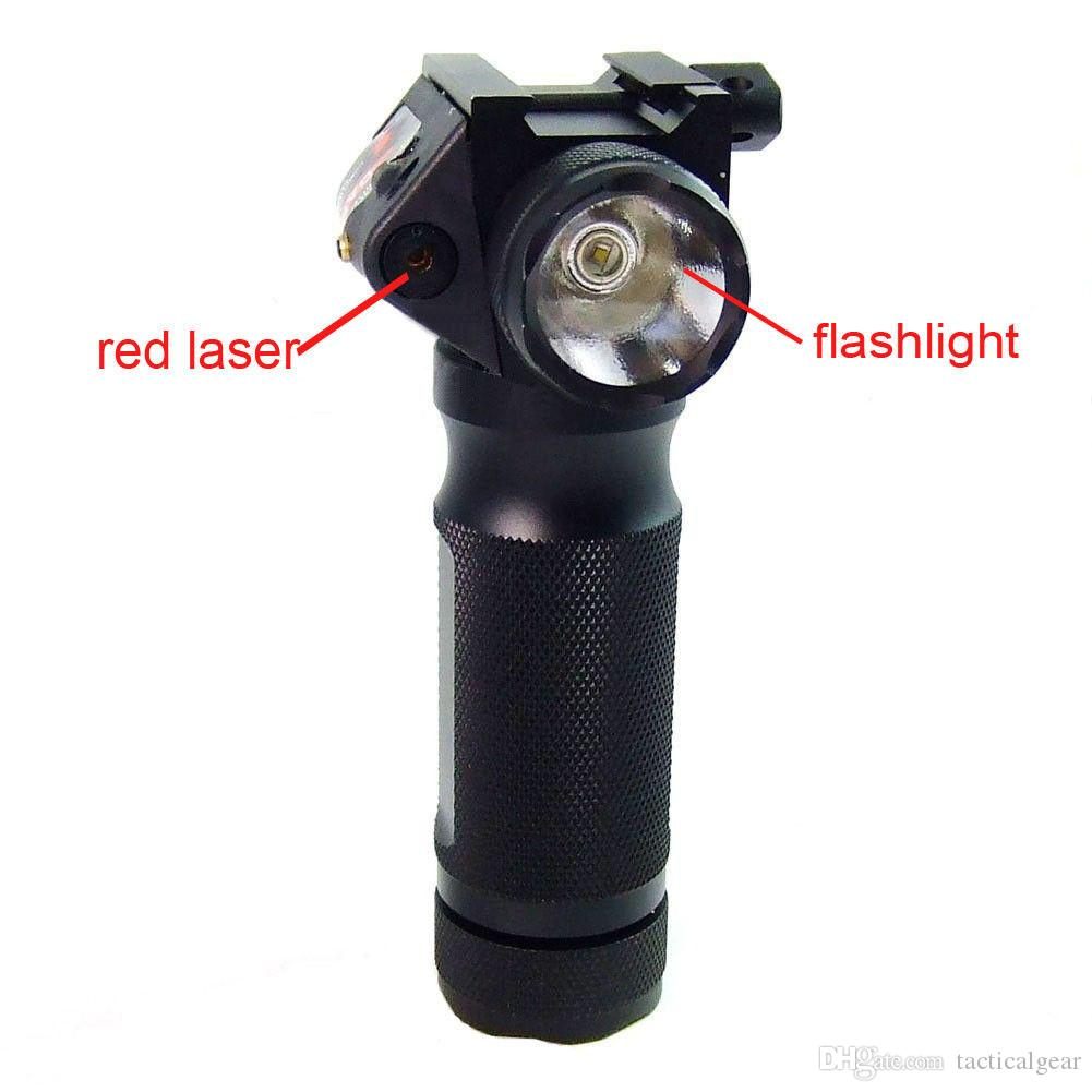 Taktik Dikey Ön Kavrama CREE LED Avcılık El Feneri ile Entegre Kırmızı Nokta Lazer Sight Tüfek Için