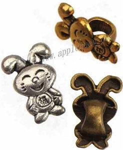 European Beads Charms Fit DIY Pandora Bangles Retro Silver Animal Rabbit blessing Large Hole Alloy Jewelry Findings Fashion 14*10*7mm