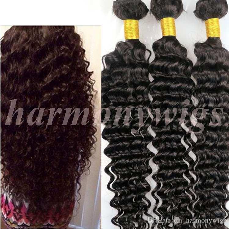 100% capelli umani vergini tessono trama onda profonda ricci 8 ~ 34 pollici colore naturale peruviano malese indiano districare fasci di capelli bulk estensioni