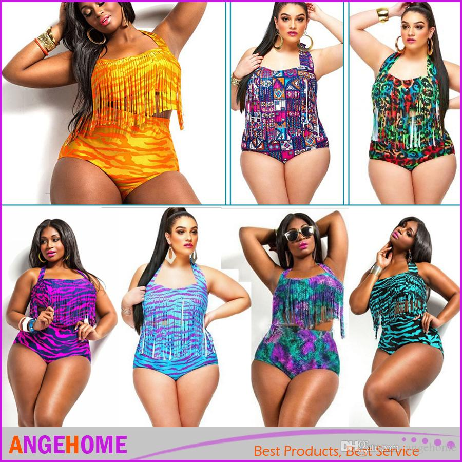 92ec9d677e421 2019 Plus Size L 3xl Print Fringe High Waist Swimsuit Sexy Tassels Bathing  Suit Swimwear Push Up Bikini For Fat Women From Angehome, $8.7 | DHgate.Com