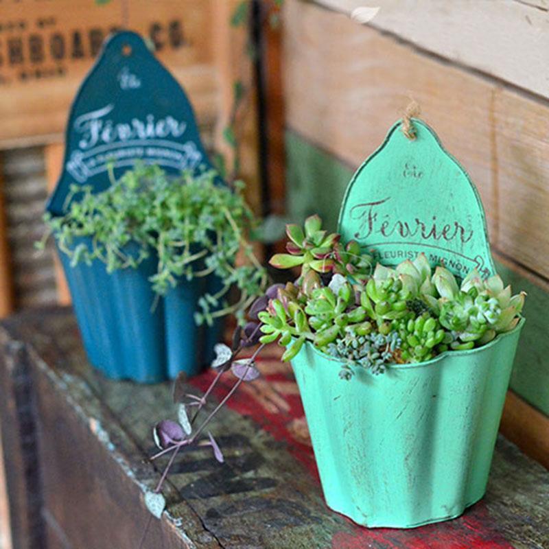 Metal pots Height17cm Metal flower pots planters garden ornaments wall pots hanging planters vintage storage pen holder hanging baskets