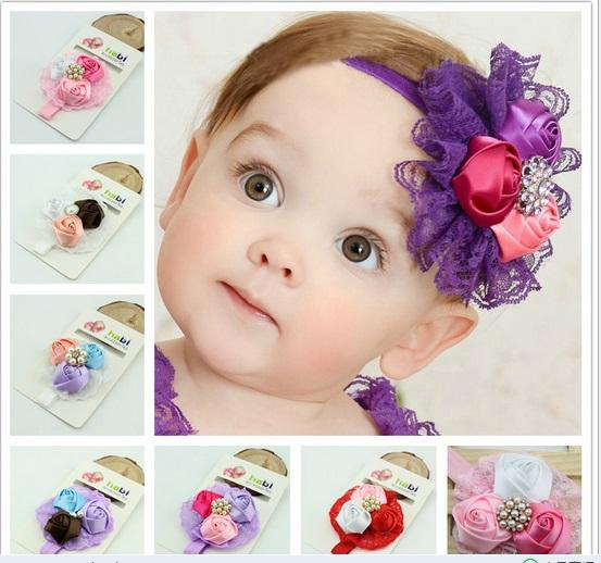 Newest lovely baby lace rose elastic headbands infant baby girl flower hair accessories baby photography props 2016 hot selling little black girl hair