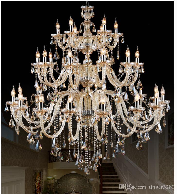 Morden 3 Couches 28 Bras Grand Cognac Lustre En Cristal Escalier Long Lustre En Cristal Éclairage Restaurant Hôtel Hall Villa Lampes