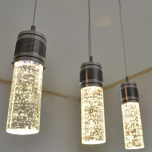 Discount Modern Led Bubble Column Crystal Hanging Lamp Three Lamps ...