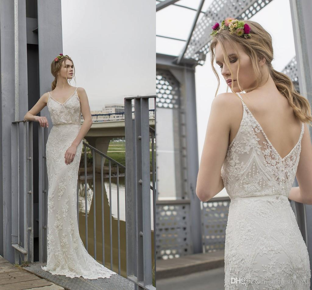 2017 limor rosen retro lace wedding dresses spaghetti v neck