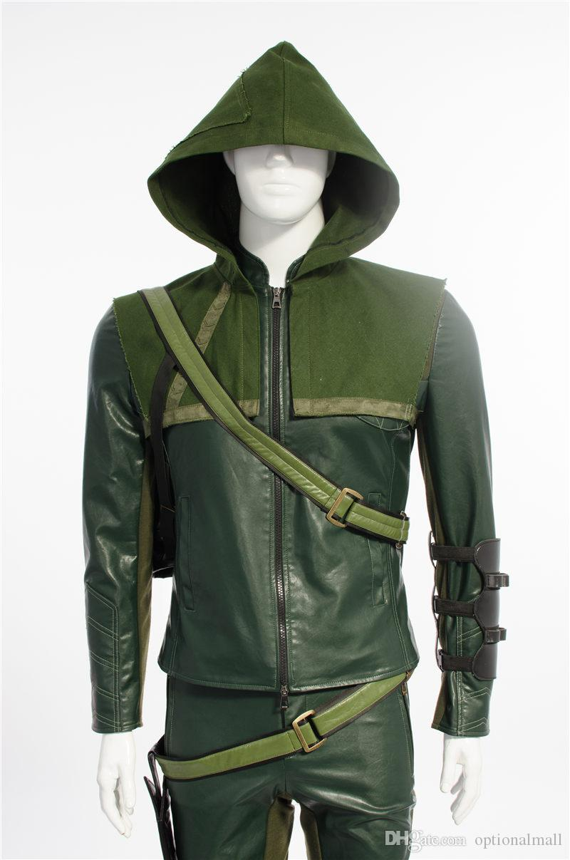 Desired Pants Length - From Smallest Part Of Your Waist To The Length You Want. 2015 Green Arrow Cosplay ... & 2015 Green Arrow Cosplay Costumes Superhero For Men Leather Jacket ...