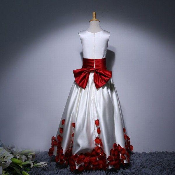 Longueur De Plancher De Longueur De Robes De Fille De Fleur Rouge Et Blanc Enfants Robes Formelles Jewel Cou Sans Manches Arc Pétales Robe pour Mariage