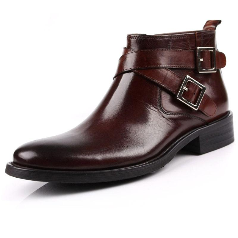 New Classic Men'S Real Leather Ankle Boots Strap Buckle Inside Zip ...
