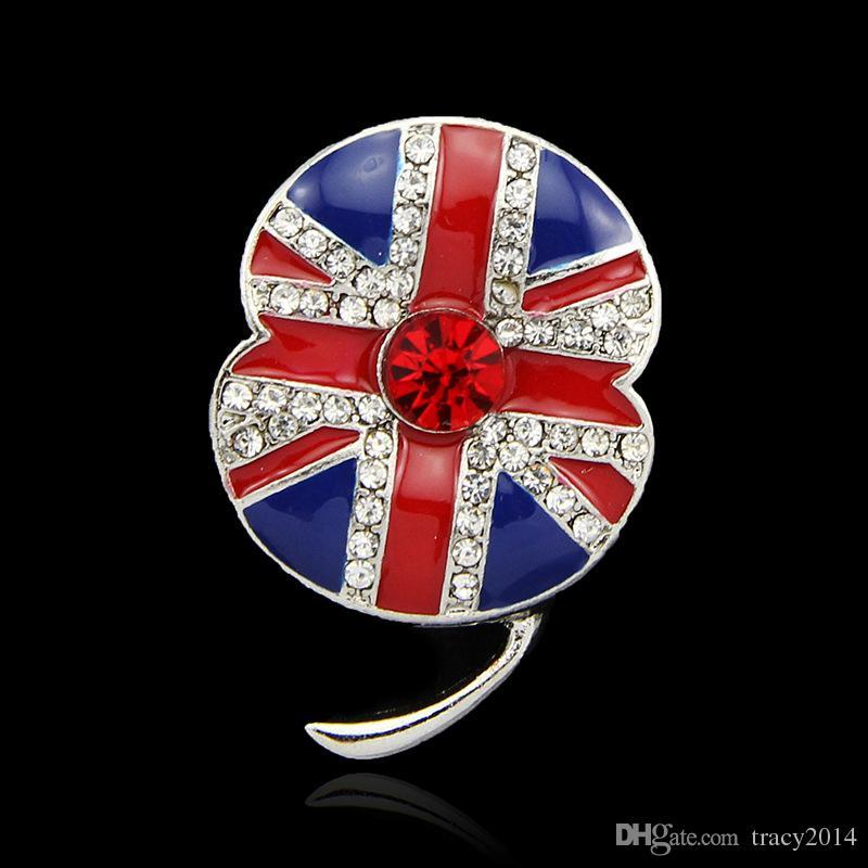 بريطانيا تذكارية حجر الراين بروش كبير الأحمر الخشخاش زهرة بروش الماس بروش 12 collectionpins كريستال حجر الراين تشيكوسلوفاكيا بروش