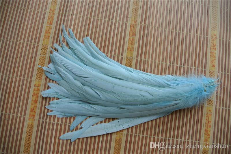 Ücretsiz kargo 100 adet 12-14 inç 30-35 cm aqua mavi Horoz tüy Kostümleri için coque tüy gevşek dekor el sanatları düğünler