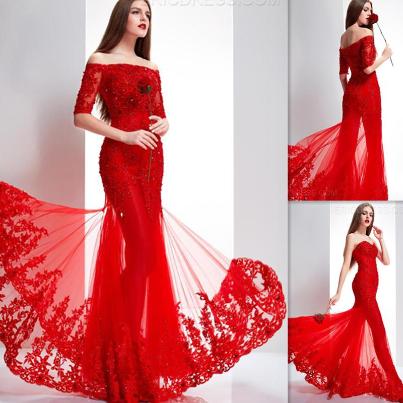 f8631473cbcd Indian Dresses Women Red Tulle Appliques Lace Off The Shoulder Half Sleeves  Mermaid Evening Party Gowns Arabic Floor Length Girl Prom Dress Ghetto Prom  ...