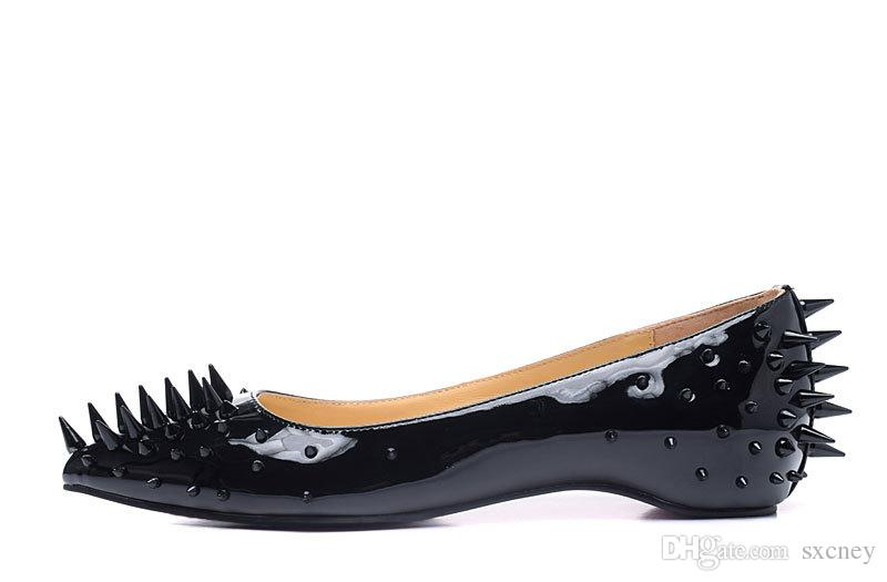 71405f8b356 New Fashion Casual Women Pointed Toe Rivet Flat Bottom Shoes Women ...