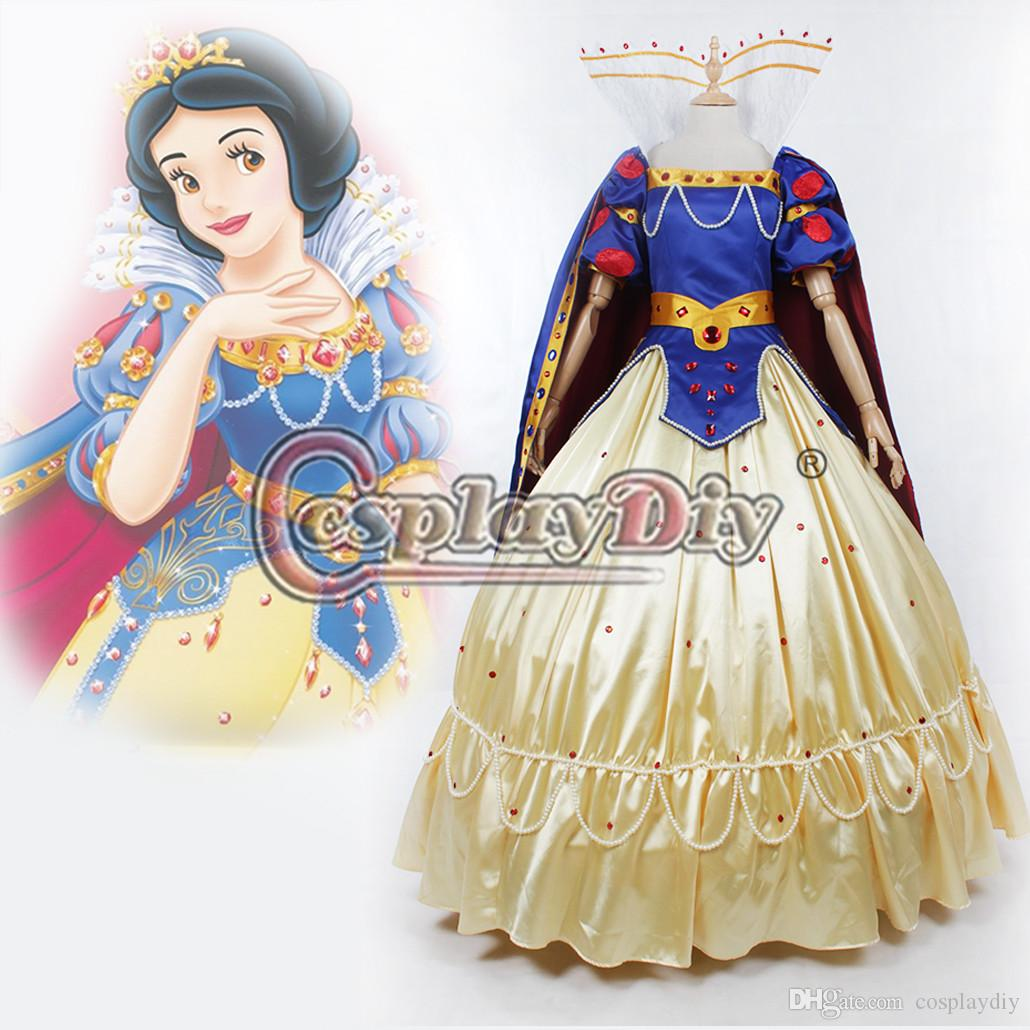 Snow White Princess Costume Deluxe Dress Halloween Masquerade ...