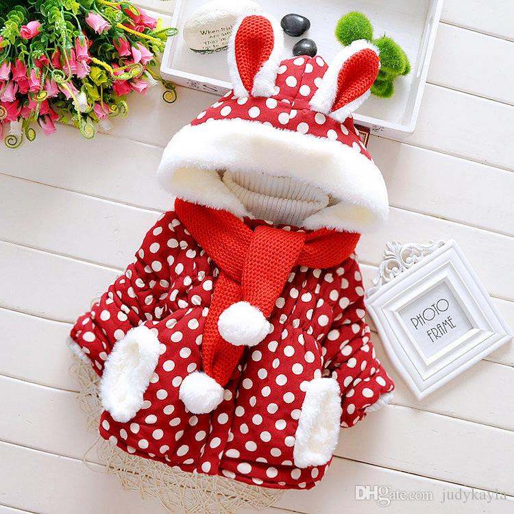 New Style Children Cotton Coats Scarf With Ball Top Furry Edge Kids Winter Jackets Dots Rabbit-shaped Hooded Coats For Girls Retail CR361