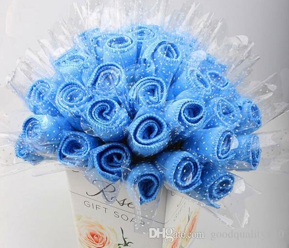 20 قطع لطيف روز نمط منشفة المناشف القطنية الإبداعية ل حفل زفاف لصالح هدية عيد التذكارات