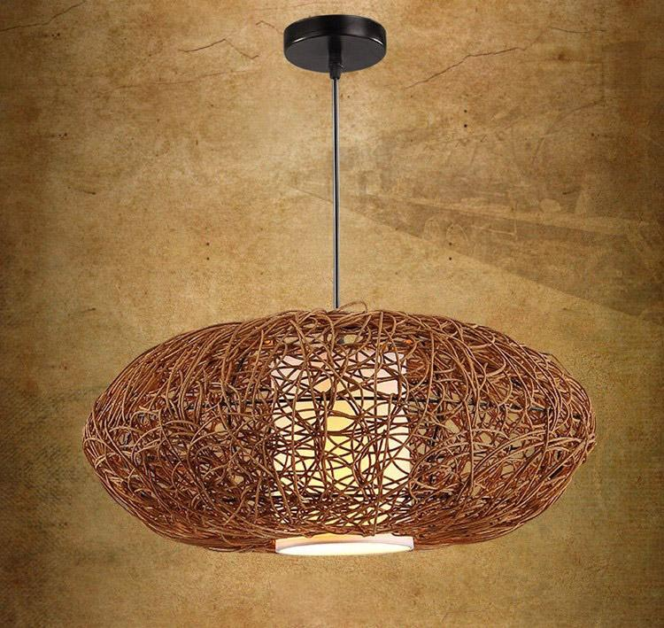 Southeast Asia Wicker Woven Pumpkin Dining Room Ceiling