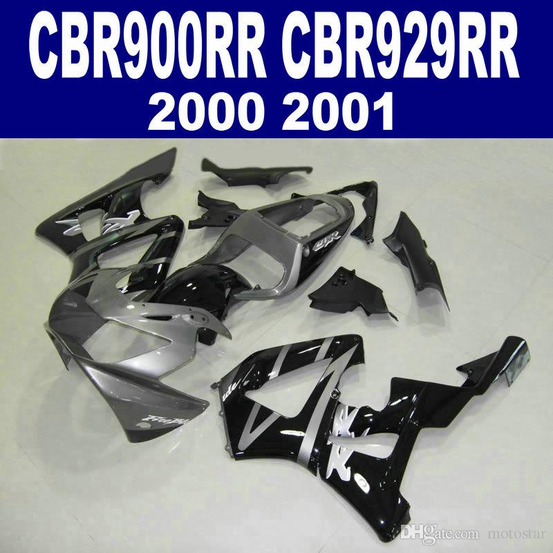 Road racking parts for HONDA CBR900RR fairing kit CBR929 2000 2001 silver black CBR 929 RR CBR929RR fairings set HB16