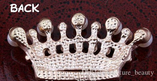 5% weg /  2 Farben handgemachte klare Metallrhinestone-Perlen-Krone Bling Legierung Flatback Tiara-Knöpfe für Hochzeits-Verschönerung