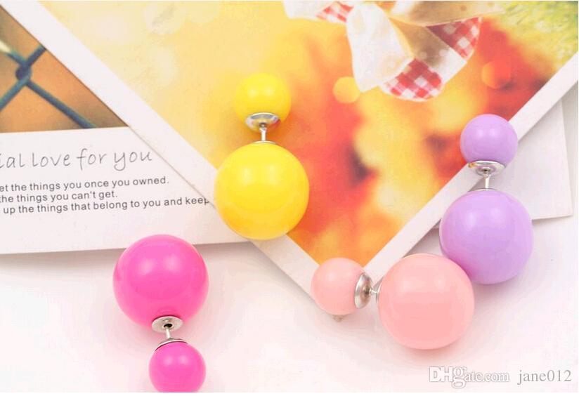 Hot sale Balls Stud Earrings Double Side small big Pearls 8mm 16mm Ear neil Candy colors Front Back Pierced Earrings Studs Fashion Jewlry