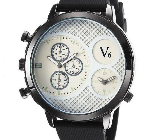 Venta caliente V6 Casual Cuarzo Hombres cara grande Relojes Deporte caucho Reloj Dropship Reloj de silicona Horas de moda Vestido Reloj REGALO DE NAVIDAD