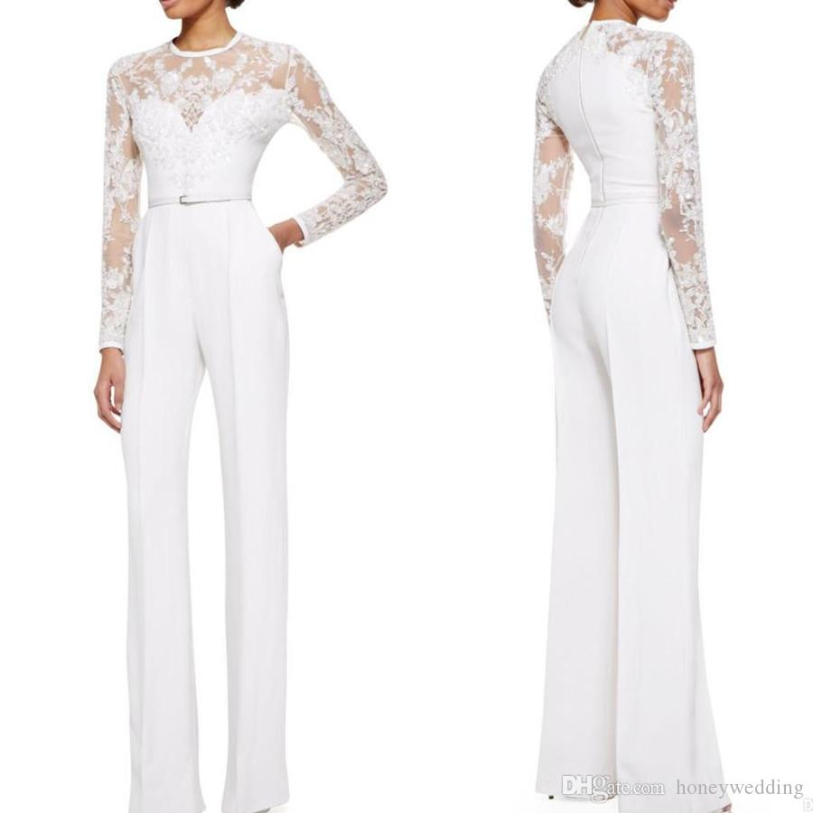 b25c60b58c9 2019 White Elie Saab Mother Of The Bride Pant Suits Jumpsuit With Long  Sleeves Lace Embellished Womens Formal Dresses Evening Wear Beautiful  Evening Gowns ...