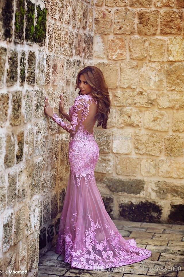 Said Mhamad Mermaid Lace Plum Prom Dresses 2016 Sweep Train Sweetheart Formal Party Evening Dresses Backless Lady Formal Dresses