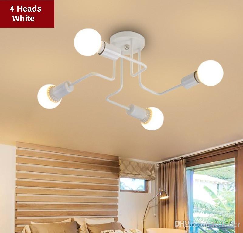 Vintage Kolye Işıkları Çoklu Çubuk Ferforje Tavan Lambası Ev Aydınlatma Armatürleri için E27 Ampul Oturma Odası Lamparas