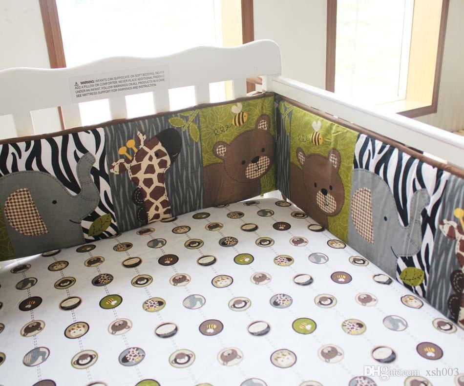 Boy crib bedding set baby Quilt Cot bedding set Embroidery 3D cartoon animal Bear Giraffe Owl Pure cotton comfortable Baby bedding set