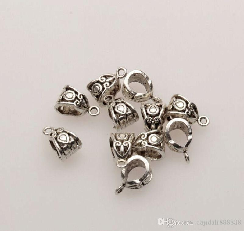 MIC 100 SZTUK Antique Silver / Bronze / Gold 6mm Hole Hole Urok Złącze Koralik Fit Bransoletka 7.5x13.5mm