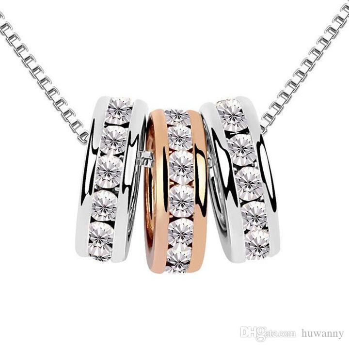 قلادات المعلقات حار بيع الفضة كريستال قلادة القلائد للنساء فتاة حزب هدية الأزياء والمجوهرات بالجملة شحن مجاني 0236WH