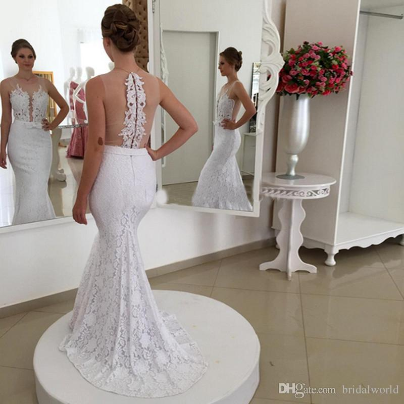Vintage Wedding Dress Sheer Deep V-Neck Covered Button Back Illusion Mermaid Dress Applique Bow Sash Sweep Train Lace Wedding Gowns